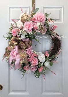 Pink Rose Wreath Spring Wreath Easter Wreath by JansElegantWreaths