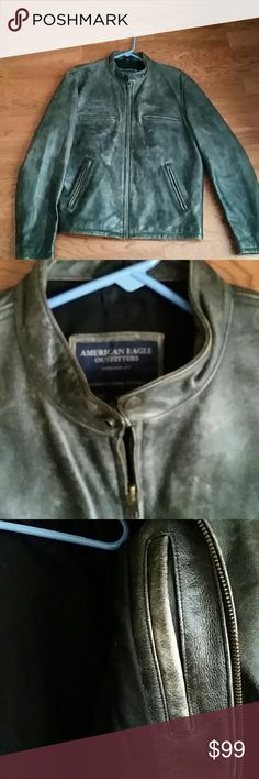 American Eagle leather coat/jacket L In excellent condition, it has pocket inside. My son has better coat for his college in Rochester NY, he has to let this go. American Eagle Outfitters Jackets & Coats Bomber & Varsity