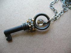 "https://flic.kr/p/8GTadR   Secrets Key Nekclace   Vintage skeleton key, sterling silver, smoky quartz, topaz, and fresh water pearls... In the Etsy shop at <a href=""http://www.etsy.com/shop/brendamcgowan"" rel=""nofollow"">www.etsy.com/shop/brendamcgowan</a>"