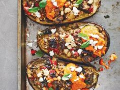 Emeril Lagasse's Stuffed Eggplant With Roasted Red Pepper Coulis for Roger