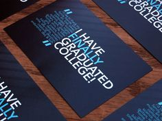 Image of graduation invitation that is dark blue and has a bright light blue color and white text.