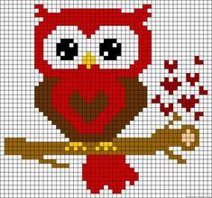 Heart owl perler bead pattern, will use for cross stitch Cross Stitch Owl, Cross Stitch Animals, Cross Stitch Designs, Cross Stitching, Cross Stitch Embroidery, Cross Stitch Patterns, Motifs Perler, Perler Patterns, Loom Patterns