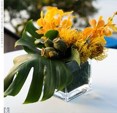 Green and yellow tropical centerpiece