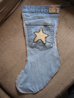 Jeans made into a stocking for Christmas, now that's cute.