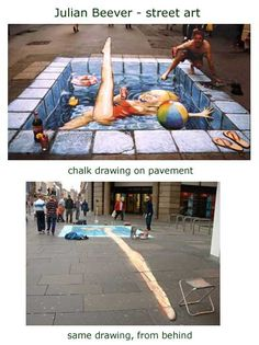 julian beever - swimming pool chalk drawing