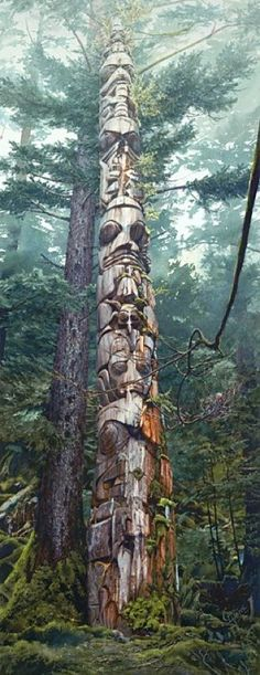 Totem pole carved from red cedar, Pacific NW