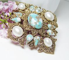 Sarah Coventry Brooch Pendant with Faux Turquoise by LorettasCache