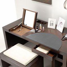 Flip top mirror turns workstation into vanity desk.