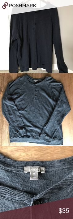 Vince Navy Henley Long Sleeve Great condition. Navy blue Henley. No modeling or trades. Cheaper on merc. MANY OTHER XXL MENS ITEMS LISTED! Vince Shirts Tees - Long Sleeve