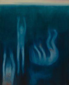 Miriam Cahn im Haus der Kunst Arte Grunge, Retro Futurism, Psychedelic Art, Blue Aesthetic, Art Plastique, Surreal Art, Dark Art, Oeuvre D'art, Art Inspo