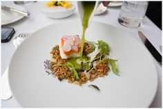 Roasted Halibut with Farro, Mustard, & Cucumber-Miso sauce - part of a 13 course tasting menu from Blackbird in Chicago.