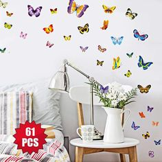 5480a5f85b Butterfly Decals for Wal l- 61Pcs Wall Stickers Wall Decor Home Decor Decor  Living Room Decor #homedecor #walldecor #gifts