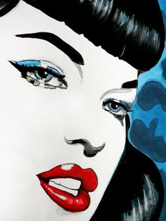Betty Page Pop Art Original Painting by KatNova on Etsy, $475.00