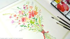 Painting Flowers - How to paint a flower bouquet with watercolors  https://youtu.be/BYHxJhYBMCw