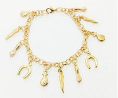 Pulseira superstição 20 cm, 2 banhos em ouro , com pingentes de 1 cm representado sorte; saquinho de dinheiro, pimenta, ferradura, figa.    Super qualidade e beleza R$ 35,00