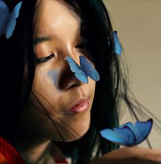 Digital Art by Francisco Jose Albert Albusac Digital Portrait, Digital Art, Blue Words, Surreal Artwork, New Media Art, Butterfly Kisses, Butterfly Art, Butterflies, Female Reference