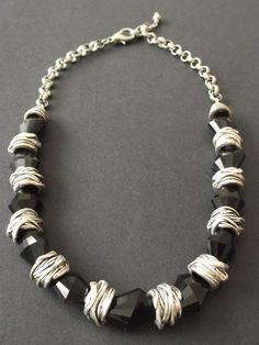 Black Glass & Tibet Silver Necklace Designer Jewellery, Jewelry Design, Black Glass, Tibet, Bracelets, Board, Silver, Inspiration, Jewels