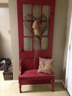 Old door made into a hall tree More We are want to say thanks if you like to share this post to another people via your. - Old door made into a hall tree . Refurbished Furniture, Repurposed Furniture, Furniture Makeover, Painted Furniture, Repurposed Doors, Salvaged Doors, Old Door Projects, Furniture Projects, Diy Furniture