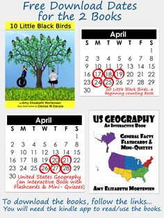 2 Books for Free during a Limited Time Offer.  Both are children's books.  The US Geography will help a child with learning the 50 US States & Capitals.  The second book is a counting book designed for children within the Pre-K & K age range. #books, #childrens, #free, #kindle, #US, #birds, #counting, #states&captials