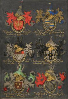 «Statuts de l'Ordre de la Toison d'Or», Netherlands, S. (Bruges); between 1481 and 1486 [BL Ms Harley 6199] -- f°59r: Coats of arms of Guillaume de Vienne, Régnier Pot, Jean de Roubaix, Roland d'Uutkercke, Antoine de Vergy et David de Brimeu.