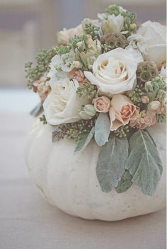 This fun roundup of fall wedding decorations includes everything from pumpkin wedding centerpieces to pumpkin aisle decor and escort cards. White Pumpkin Centerpieces, Pumpkin Vase, Pumpkin Flower, Pumpkin Bouquet, White Pumpkin Decor, Gold Pumpkin, White Centerpiece, Green Pumpkin, Autumn Wedding