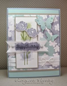 Georgeann Manning: Stampin' Everything – Painted Petals, Bloom With Hope, Birthday Card  - 3/11/15.  (SU/ 2015/SAB: Irresistibly Yours dsp.  2015/Occ: Painted Petals stamps. Bloom with Hope stamps).