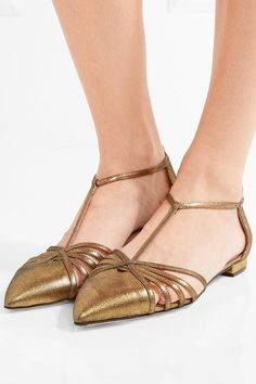 Heel measures approximately 10mm/ 0.5 inches Gold leather Buckle-fastening ankle strap Designer color: Karat Made in Italy