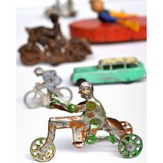 vintage toys game parts bicycle motorcycle  8x10 PRINT  'Men on a Mission' by Elizabeth Rosen.via Etsy.