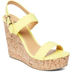 Charles Albert Citrine Wedge Sandal (€12) ❤ liked on Polyvore featuring shoes, sandals, wedges, platform sandals, charles albert, high heel platform shoes, platform shoes and wedge shoes