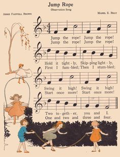 Jump rope | The Music Hour, First Book edited by Osbourne Mc… | Flickr Vintage Sheet Music, Vintage Books, Old School House, Joelle, Music Crafts, Music Images, School Daze, Book Illustration, Art Illustrations
