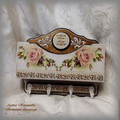 """Купить Ключница с карманом """"Vintage roses"""" - ключница ручной работы, Ключница декупаж, ключница настенная"""