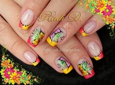 Neon Tips & Flowers - Nail Art Gallery