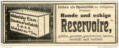Original-Werbung/ Anzeige 1910 - RESERVOIRE / WEISSTALER EISEN & BLECHWARENFABRIK - WEIDENAU / SIEG - ca. 100 x 40 mm