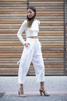 Mules: Guess, Pants: Zara (Similar), Bag: Saint Laurent, Crop Top: Zara