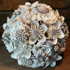 paper flower bouquet with gems