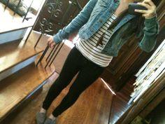 denim jacket, striped tee, leggings, toms