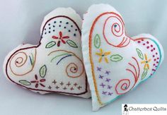 Free Heart Pillow / Pincushion Hand Embroidery Pattern
