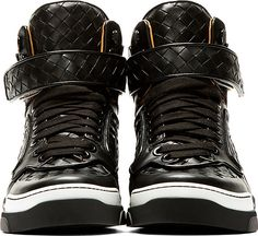 Givenchy: Black Basketwoven Leather Tyson High-Top Sneakers