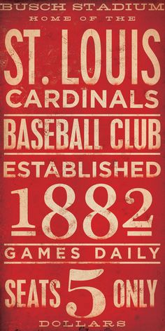 St Louis Cardinals baseball typography graphic art giclee archival signed artist's print 10 x 20 Saint Louis Cardinals, St Louis Cardinals Baseball, Stl Cardinals, Photocollage, The St, Vintage Signs, Vintage Type, Vintage Labels, Word Art