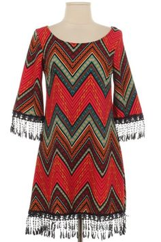 "Multi-Color Red and Teal Chevron ""Fringe it Out"" Tunic Dress - The Rustic Shop"