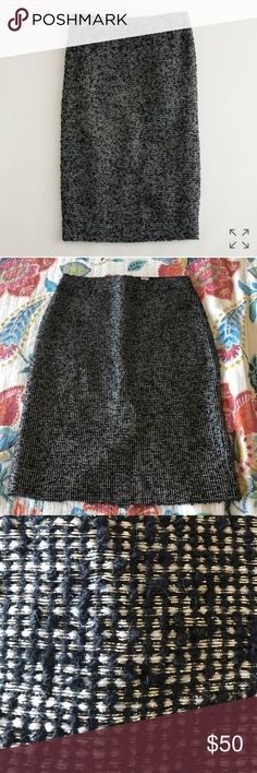 J Crew Notte Tweed Pencil Skirt Black Gold Sz 4 Gorgeous stunning skirt. No issues. Great for this time of year. J. Crew Skirts Pencil