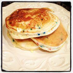Cake batter pancakes! Delicious!