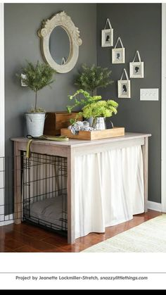 Pet kennel hidden in home decor. End tables.