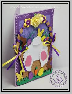 Easter basket card created using ScrappyDew Creations Bunny Kids and Easter Town files.