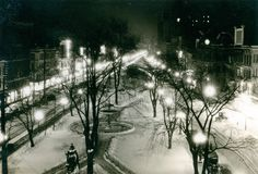 This image shows Gore Park and King Street East at night, looking east on February 1926 at 10 p. Hamilton Ontario Canada, H Town, Historical Images, Local History, The Province, Back In Time, Image Shows, New Pictures, Park