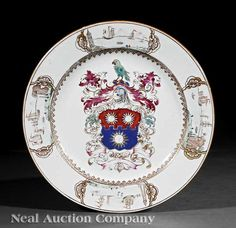 Chinese Export Famille Rose Armorial Porcelain Dish, 18th c.