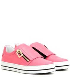 Roger Vivier - Sneaky Viv embellished leather sneakers - Roger Vivier has you covered for laid-back luxe footwear this season. Presenting the 'Sneaky Viv' – a slip-on sneaker crafted in Italy from smooth pink leather. Notice the iconic buckle that locks in a dose of glamour. seen @ www.mytheresa.com