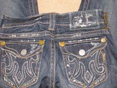 MEK Oaxaca Dark Distressed Bootcut Jeans 24