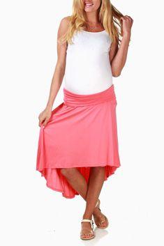 Coral Hi-Low Maternity Skirt Cute Maternity Outfits, Maternity Wear, Maternity Fashion, Maternity Skirts, Maternity Styles, Pregnancy Fashion, Maternity Clothing, Hi Low Skirts, Cute Skirts
