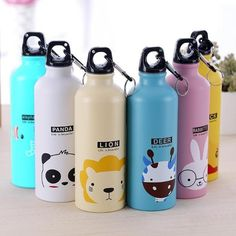School Water Bottles, Cheap Water Bottles, Aluminum Water Bottles, Travel Water Bottle, Travel Bottles, Drink Bottles, Cute Cartoon Animals, Funny Animal, Sports Drink